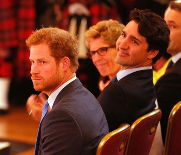Prince Harry and Prime Minister Justin Trudeau at the launch of the 2017 Invictus Games to be held in Toronto on Monday May 2, 2016. Michael Peake/Toronto Sun/Postmedia Network