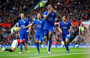 Leicester City's Wes Morgan celebrates scoring a goal against Manchester United during Premier League soccer action at Old Trafford in Manchester, England on Sunday, May 1, 2016. Leicester City claimed the league title on Monday after Chelsea and Tottenham played to a draw. (Reuters/Darren Staples/Livepic)
