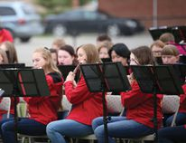 A 44-piece band from Sir John Franklin School in Calgary performed on a chilly April afternoon to the townspeople of Pincher Creek in Central Park. | Caitlin Clow photo/Pincher Creek Echo