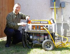 Regional co-ordinator Chris Kalansky demonstrates a pre-installed generator, part of the organization's efforts during Emergency Preparedness Week May 1-7. (Alexis Stockford/The Morden Times)