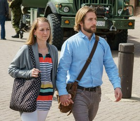 David Stephan and his wife Collet Stephan leave the court house on April 23, 2016 in Lethbridge, Alberta.  The Stephan's have been pleaded not guilty to failing to provide the necessities of life for 19-month-old Ezekiel, who died in March 2012 from meningitis.  POSTMEDIA/David Rossiter