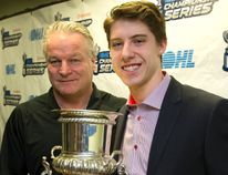 London Knights' head coach Dale Hunter stands with Knights' co-captain Mitch Marner, who won the Red Tilson Memorial Trophy Tuesday as the Ontario Hockey League's most valuable player. (MIKE HENSEN, The London Free Press)