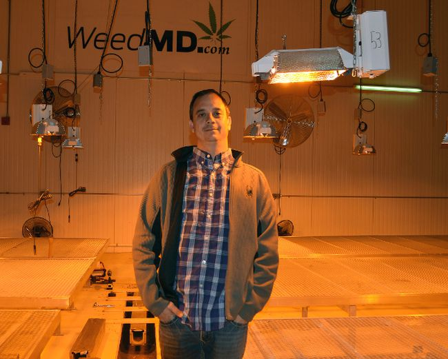 Bruce Dawson-Scully, CEO of WeedMD, inside the state-of-the-art, 35,000 sq. ft. medical marijuana grow op housed in the former Imperial Tobacco plant in Aylmer. (Jennifer Bieman, Times-Journal)