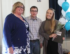 Alyssa Bourassa (right) was the recipient of the Social Good Award, sponsored by Anne-Marie and Jeff Thomson. (Laura Broadley/Goderich Signal Star)