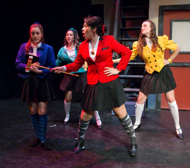 Veronica, played by Laura Martineau, left, is confronted by The Heathers — played by Alicia D'Ariano, Elena Reyes and Jesslyn Hodgson — in Heathers: The Musical. (CRAIG GLOVER, The London Free Press)