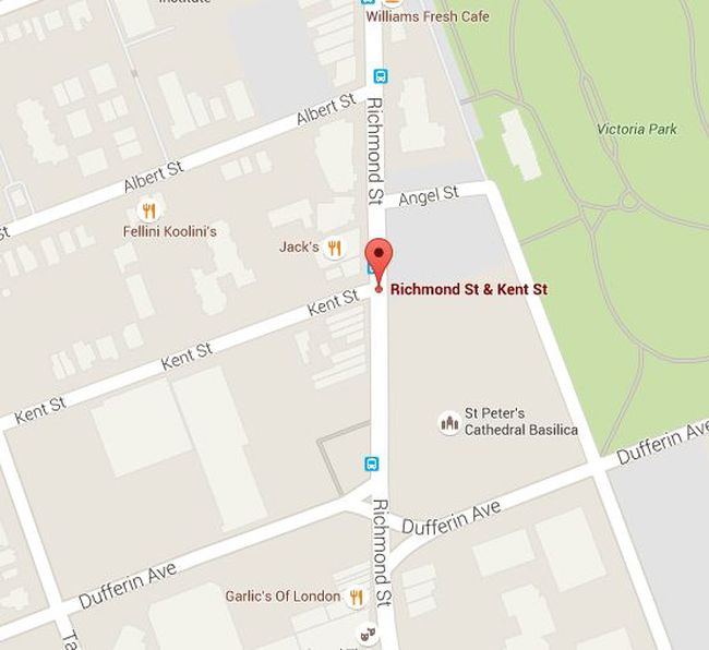 A man was reported with a gun at Richmond and Kent streets in downtown London early Saturday morning.