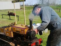 Ed Spence powers up the steam engine at Komoka railway museum to take shunpikers for a ride. (Barbara Taylor/The London Free Press/Postmedia Network)