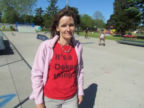 Teresa Ingles is shown in this file photo in Tecumseh Park during a skate board competition the Deker Bauer Foundation for Suicide Prevention held last year. The foundation Ingles is the chief executive officer of recently  received designation as a charitable organization. (File photo/Sarnia Observer)