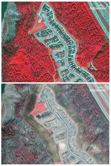 """This combo made from images taken May 29, 2015, top, and May 5, 2016, bottom, provided by DigitalGlobe shows a view of Alberta, Canada from its WorldView-3 satellite in false-color. The satellite """"sees"""" the the world in eight spectral bands. The bright red areas represent healthy forest land in the top image. The areas burned by an enormous wildfire that devastated Canada's oil sands town of Fort McMurray in Alberta show up as black and gray in the bottom image. (DigitalGlobe via AP) MANDATORY CREDIT"""