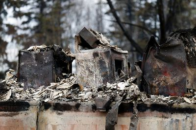 FORT MCMURRAY, ALBERTA: MAY 9, 2016: Remains of a home in the Abasands neighborhood in Fort McMurray on May 9, 2016. (PHOTO BY LARRY WONG/POSTMEDIA NETWORK)