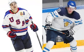 It is still very early in what could be a lifetime of comparisons between Auston Matthews (left) and Patrik Laine (right), the top two prospects heading into this summer's NHL Entry Draft. (Reuters/Files)