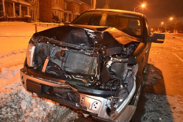 A court exhibit photo of the pickup York Regional Police Det.-Const. Remo Romano was driving on St. Clair Ave. E., just west of Warden Ave., when Natasha Carla Abogado, 18, was killed Feb. 12, 2014.