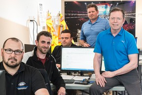 Rogers Place assistant GM Mike McFaul, right, poses with some of his team who will be responsible for back-of-house operations - including, but not limited to, the arena ice surface. From left, Matt Ruptash, Jason Rimmer, Andrew Higgins and Steven Morgan. (Shaughn Butts)
