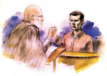 Mark Smich answers questions from his lawyer Thomas Dungey at John Sopinka courthouse in Hamilton May 11, 2016. (Sketch by Pam Davies)