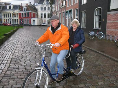 Guide Titus Akkermans takes a slightly reluctant Christina Blizzard for a bike ride -- her first in decades -- around Groningen.