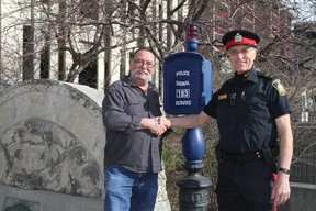 Kurt Best (right) became a constable in January 1976 and retired from the Winnipeg Police Service after 40 years. He was joined on his final day April 30 by his first partner, Denis Fontaine.