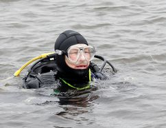 Rick Taylor, a member of the North Bay Scuba Club was one of six divers who braved the cold Sunday to participate in the club's annual cleanup. Every spring, divers spend hours recovering items that have fallen in Lake Nipissing. The club says it's their way of giving back.Jennifer Hamilton-McCharles/The Nugget