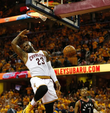 Cleveland Cavaliers LeBron James (23) does his best flying slam in the third quarter in Cleveland on Wednesday May 18, 2016. Jack Boland/Toronto Sun/Postmedia Network