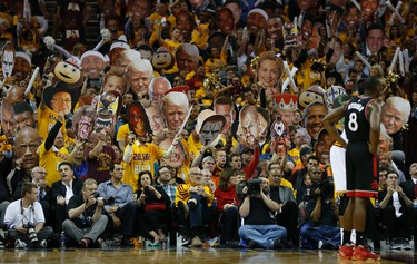 Cleveland fans try to stop the free throw in the third quarter in Cleveland on Wednesday May 18, 2016. Jack Boland/Toronto Sun/Postmedia Network