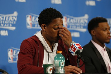 DeMar DeRozan and Kyle Lowry in the after game press conference  in Cleveland on Wednesday May 18, 2016. Jack Boland/Toronto Sun/Postmedia Network
