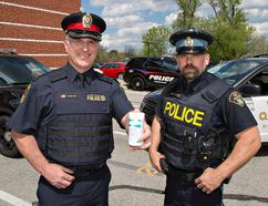 Inspector Dave Wiedrick (left) of the Brantford Police Service and PC Ken Johnston of the County of Brant OPP will be part of Prescription Drug Drop-off Day on Saturday. In Brantford, you can anonymously drop off unwanted or unused prescription medications for proper disposal, at the Wayne Gretzky Sports Centre by the main football field between 10 a.m. and 2 p.m. County residents can do so at the OPP detachment at 28 Mechanic Street in Paris from 10 a.m. to 3 p.m. Brian Thompson/Brantford Expositor