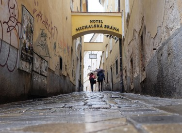 The alleyways and narrow streets of Bratislava are wonderfully evocative, especially in a light rain. JIM BYERS/Special to Postmedia Network
