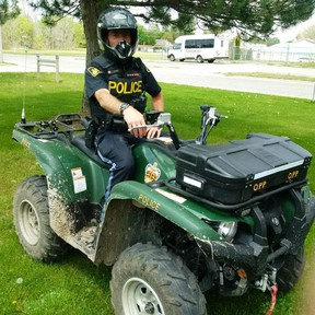 Oxford OPP Constable Paul Weber shows off one of the force's new all terrain vehicles. There are two new ATVs joining the Oxford fleet, and sixteen officers are trained to use them. (Submitted)