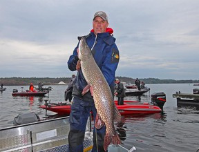 Clint Hurd shows the 45-inch monster pike that helped propel he and tournament fishing partner Mike Desforges to victory at the first Top 50 Pike tournament trail event of the season in Parry Sound on May 7. Supplied photo