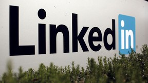 The logo for LinkedIn Corporation, a social networking networking website for people in professional occupations, is shown in Mountain View, California Feb. 6, 2013.  REUTERS/Robert Galbraith/File Photo