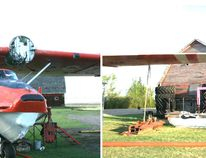 Left: Cameron Guillemaud does a very painstaking job on the Canso restoration May 11 - that of checking and labelling all of the wiring on the Canso being restored by the Fairview Aircraft Restoration Society. Right: While he did that, FARS member Jim Allen was up on a manllift, making sure that everything holding the Canso's wing together had been fastened correctlyThere is an old saying that there are old pilots and there are bold pilots but there are no old and bold pilots. Attention to detail like this is what keeps old pilots and old airplanes up in the air.