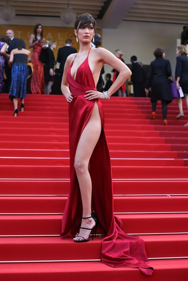 Model Bella Hadid poses for photographers upon arrival at the screening of the film La Fille Inconnue (The Unkown Girl) at the 69th international film festival, Cannes, southern France, Wednesday, May 18, 2016.. (AP Photo/Thibault Camus)