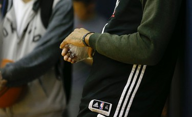 DeMar DeRozan icing then right hand during practice day at the Quicken Loans Arena before Game 2 Thursday night at 8:30 p.m. in Cleveland on Wednesday May 18, 2016. Jack Boland/Toronto Sun/Postmedia Network