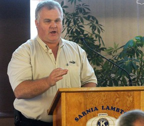 Terry Barros, manager of the Sarnia grain terminal, speaks to the Sarnia-Lambton Golden 'K' Kiwanis club meeting on Tuesday May 17, 2016 in Sarnia, Ont. Barros explained most of Southern Ontario's surplus grain is exported to Egypt. (Terry Bridge, The Observer)