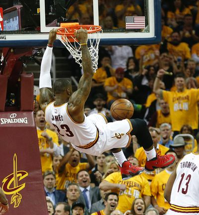 Cleveland Cavaliers LeBron James (23) fires down a shot early in the first quarter of Game 2 in Cleveland on Thursday May 19, 2016. Jack Boland/Toronto Sun/Postmedia Network
