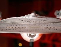 "In this photo taken Wednesday, May 18, 2016, a model of the USS Enterprise (NCC-1701-E), that was led by Capt. Jean-Luc Picard, portrayed by Patrick Stewart, is displayed in the exhibit ""Star Trek: Exploring New Worlds,"" as part of a 50th anniversary celebration of the Star Trek franchise at the EMP Museum, in Seattle. The exhibit opens on Saturday. (AP Photo/Elaine Thompson)"