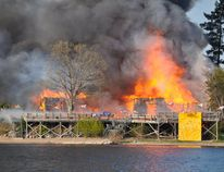 A dramatic fire Friday night, May 20, heavily damaged the main building of Esprit Rafting Adventures near Davidson, Que., east of Pembroke.
