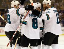 Sharks centre Tomas Hertl (left) celebrates with his teammates after a goal during the first period in Game 5 of the NHL's Western Conference final against the Blues in St. Louis on Monday, May 23, 2016. (Jeff Roberson/AP Photo)