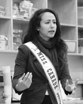 Miss Canada Globe Petite Norella King speaks to students at St. Anthony School.