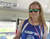 Simcoe Sabres' Veronica Samborski is all smiles after winning gold at the CWOSSA Track and Field Championships last week in midget girls javelin. Samborski has punched her ticket to the OFSAA West Regional Track and Field Championship later this week. (Contributed Photo)