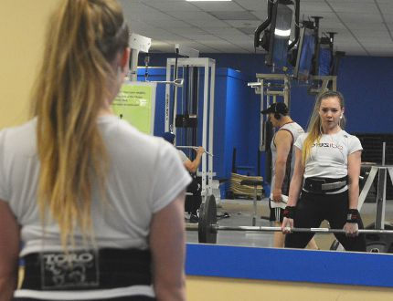 Tori Matthews works on her deadlift during a recent training session at the Norfolk Fitness Centre. The Simcoe powerlifter is preparing for the upcoming Ontario Junior Classic Championship, which will take place this fall in Ottawa. (EDDIE CHAU Simcoe Reformer)
