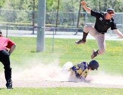 Parker Savard of the Bishop Alexander Carter Gators steals second as shortstop Bradley Chenier of Ecole secondaire catholique l'Horizon gets some air while making a catch during boys NOSSA action in Sudbury, Ont. on Wednesday May 25, 2016. Gino Donato/Sudbury Star/Postmedia Network
