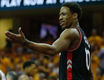 Toronto Raptors guard DeMar DeRozan looks to the ref for a foul call during Game 5 of the Eastern Conference final in Cleveland on Thursday May 26, 2016. (Jack Boland/Toronto Sun/Postmedia Network)