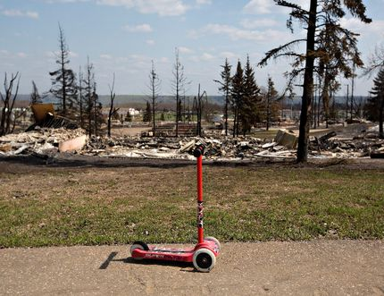 The fire-devastated neighbourhood of Abasand in Fort McMurray, Alta., on Friday, May 13, 2016. Jason Franson/The Canadian Press
