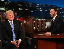 "In this photo provided by ABC, Republican presidential candidate, Donald Trump, left, talks with host Jimmy Kimmel during a taping of the ABC television show, ""Jimmy Kimmel Live!,"" on Wednesday, May 25, 2016, in Los Angeles. Trump made an appearance as a guest, along with musical guest Greg Porter on the late night show, which airs every weeknight at 11:35 p.m. EST. (Randy Holmes/ABC via AP)"