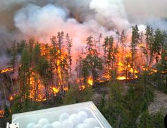 Ontario Ministry of Natural Resources and Forestry personnel with the Aviation, Forest Fire and Emergency Services Program commenced aerial ignition on Kenora District Fire No 18 as one more method of attacking this aggressive fire. Ministry of Natural Resources and Forestry supplied photo