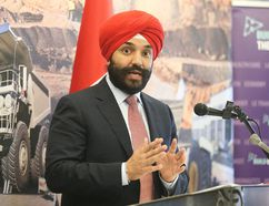 <p>Navdeep Bains, the minister of Innovation, Science and Economic Development, and minister responsible for FedNor, makes a funding announcement in Sudbury, Ont. on Wednesday May 25, 2016. Gino Donato/Sudbury Star/Postmedia Network