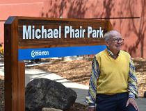 Michael Phair has a park named after him, a pocket park on 104 Street just north of Jasper Avenue in Edmonton, May 26, 2016. (Ed Kaiser photo)