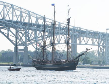 The Sombra Museum has a new exhibit that examines some of the river traffic, the ships and the ship-related activity that occurred on the St. Clair River durng the 19th and early 20th centuries. The photograph was taken in 2010 an older vessel as it was passing through the river at Point Edward at the Blue Water Bridge. (HANDOUT)