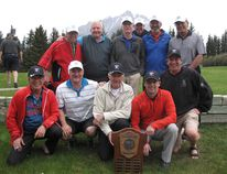 <p>The winning Canmore Golf and Curling Club team includes, bottom row, left to right, Robin Wade, John Chiarelli, Les Horbay, Rick Eichele, Jeff Ellenton, and top row, left to right, Darren Cooke, Les furber, Ric Pow, Tim Birnie, Brad Portlock and Don Heinz.Steve Young/ For the Crag & Canyon