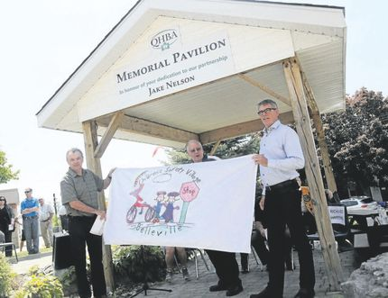 Emily Mountney-Lessard/the Intelligencer This picnic pavilion was dedicated in honour of Jake Nelson, a longtime supporter of the Children's Safety Village, during an event there on Friday in Belleville.